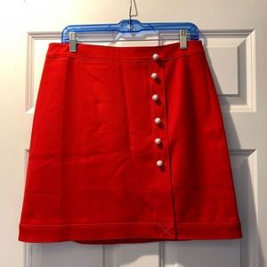 Red Skirt with Pearl Buttons